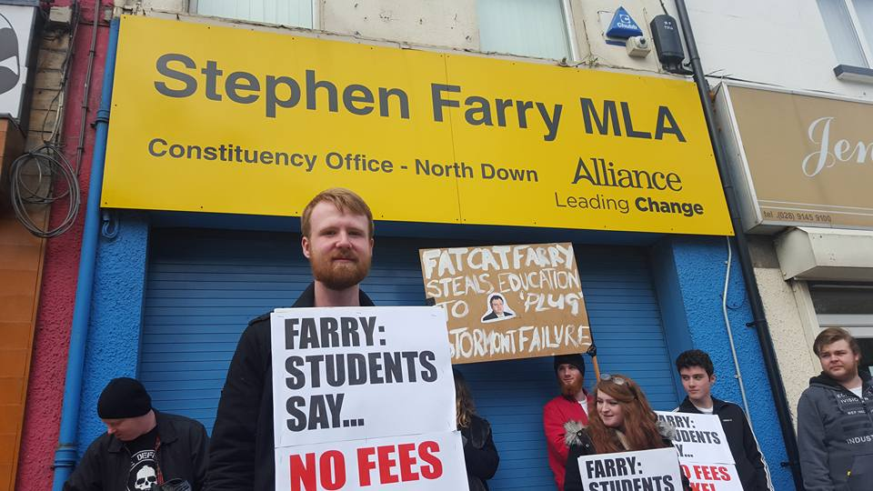 Picket of Stephen Farry's Office Over Tuition Fee Threat