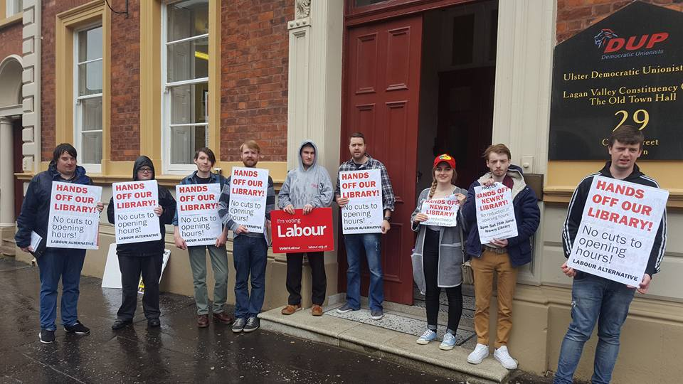Library Campaigners Protest at Minister Paul Givan's Constituency Office